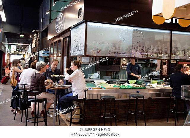Sea Food restaurant in Les Halles de Lyon Paul Bocuse , Gourmet market, Lyon, Rhone Alps, France