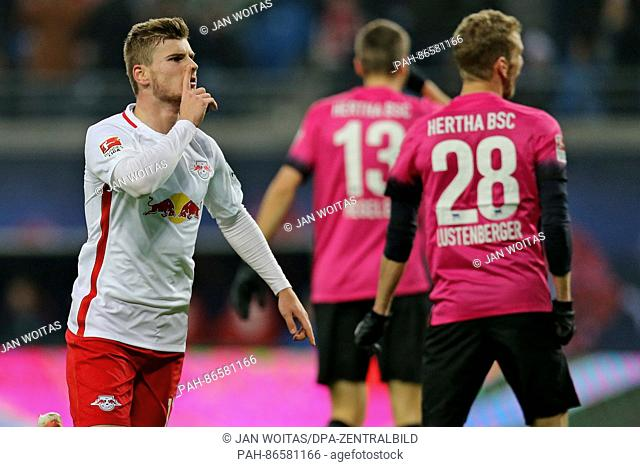 Leipzig's Timo Werner celebrates after the goal at 1:0 during the German Bundesliga football match between RB Leipzig and Hertha BSC at the Red Bull Arena in...