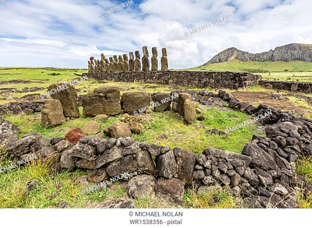 Partial moai heads in a circle at the 15 moai restored ceremonial site of Ahu Tongariki, Rapa Nui National Park, UNESCO World Heritage Site
