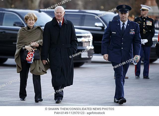 Former Secretary of State James Baker arrives at the US Capitol prior to the service for former President George H. W. Bush in Washington, DC, USA