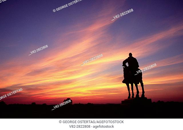 Stonewall Jackson statue sunset, Manassas National Battlefield Park, Virginia