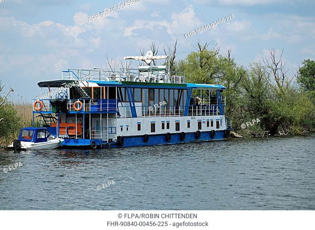 Tourist pontoon boat, Tulcea, River Danube, Danube Delta, Dobrogea, Romania, may
