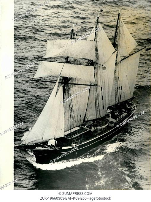 Mar. 03, 1966 - The old Windjammer sails in; The three masted windjammer New Endeavour sails up the Harbour on arrival at Sydney, Australia to journey's end