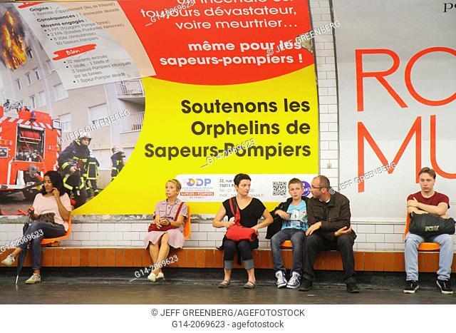 France, Europe, French, Paris, 9th 18th arrondissement, Pigalle Metro Station Line 2 12, subway, public transportation, riders, passengers, platform
