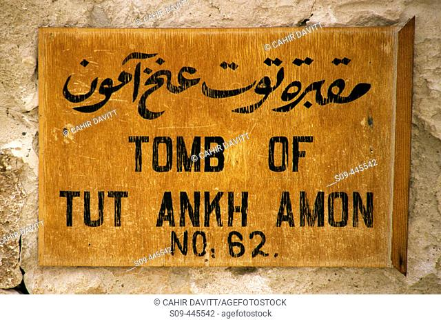 Sign marking the entrance to the Tomb of Tutankamon, tomb number 62 in the Kings Valley. Luxor West Bank, Egypt