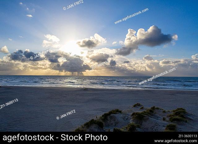 beautiful clouds at sea near Zandmotor at Monster, Holland