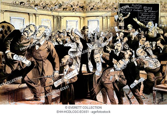 'This is not the New York Stock Exchange, it is the patronage exchange, called U.S. Senate'. Print satirizing the machine politics of the Gilded Age