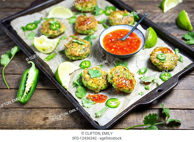 Thai prawn fritters with a sweet chilli sauce