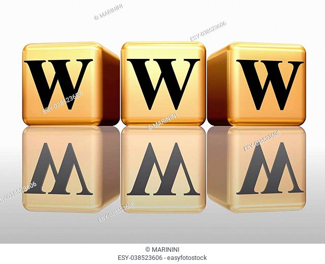 3d golden boxes with text - www with reflection
