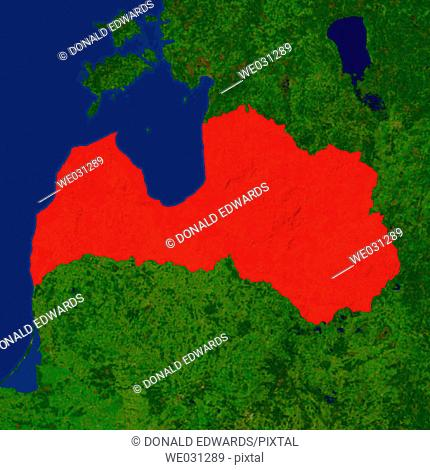 Highlighted satellite image of Latvia