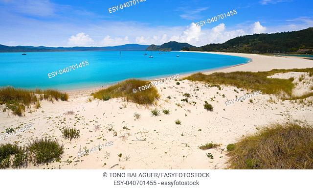 Praia de Rodas beach in islas Cies island in Vigo of Spain