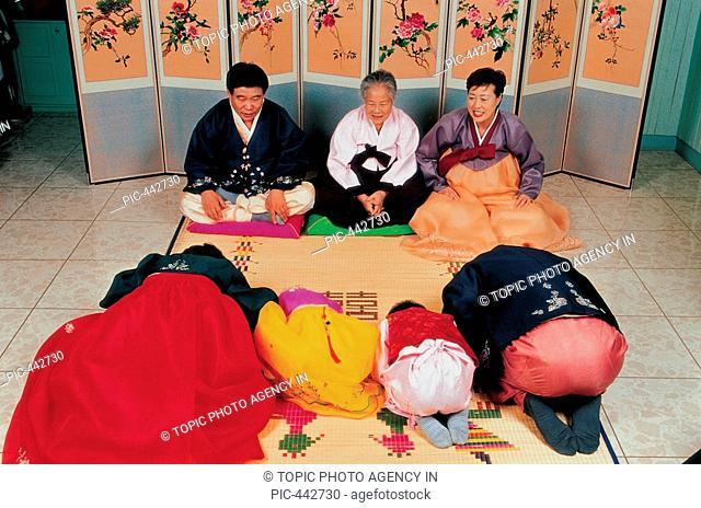 Family In Korean Costume,Korea