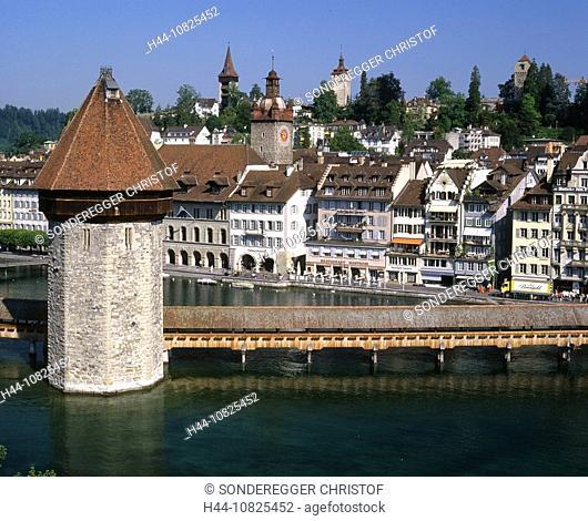 town, city of Lucerne, Reuss, overview, Kapellbrucke, Brucke, chapel bridge, Old Town, Switzerland, Europe