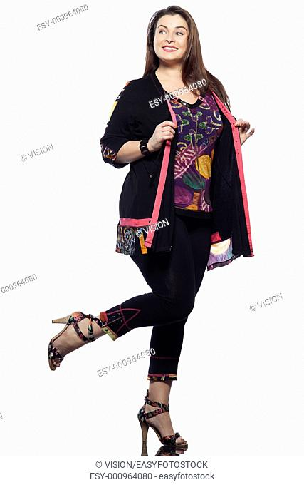 large build caucasian woman full length spring summer fashion models clothes clothings on studio isolated plain background