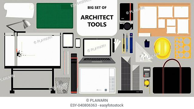 Big set of isolated architect tools. Working and design stuff. Vector illustration