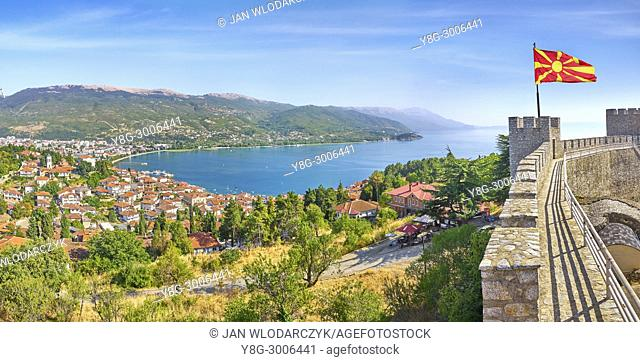 Aerial panorama viev of Ohrid old town, Macedonia
