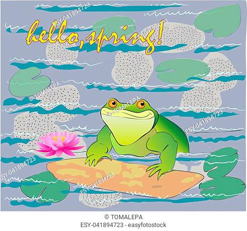 Bloom in a pond of water lilies and the frog happy spring