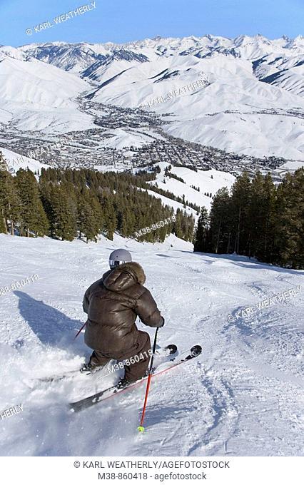 Man skiing  Sun Valley, Idaho