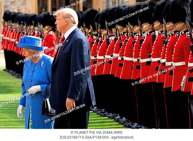 July 13, 2018 - Windsor, England, United Kingdom - U.S President Donald Trump reviews the Honor Guard with Queen Elizabeth II at Windsor Castle July 13