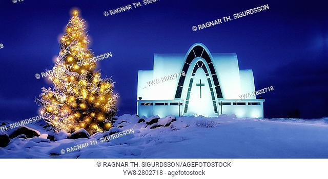 Christmas time, Kopavogur Church, Kopavogur, a suburb of Reykjavik, Iceland