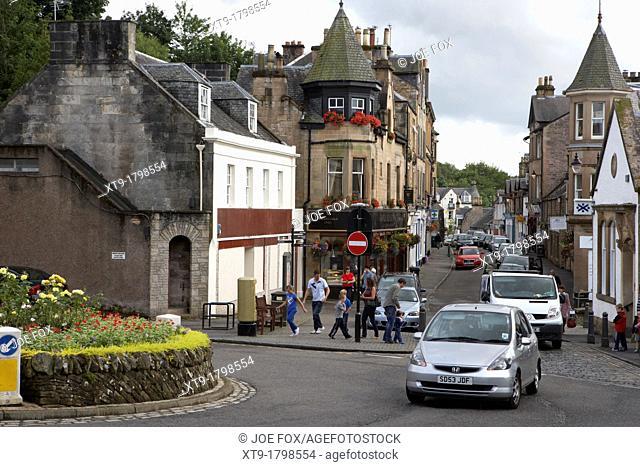 looking down dunblane high street scotland uk