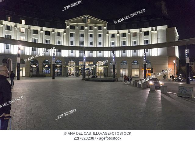 Brussels, Belgium. Travelers commuting at Brussels Central Station at night