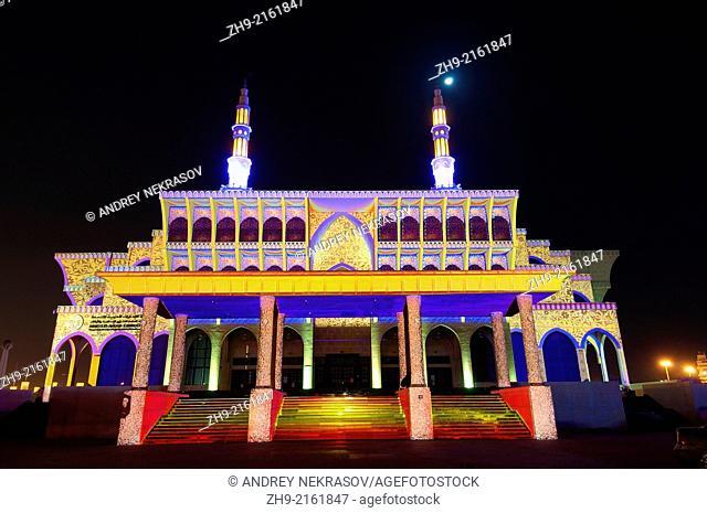 Sharjah Light Festival, mosque Masjid Al Malek, emirate Sharjah, United Arab Emirates, Near East