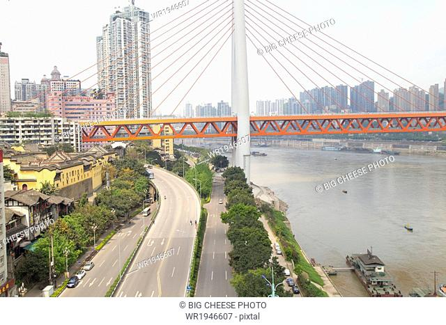 View of the Twin River Bridge from a cable car, Chongqing, China