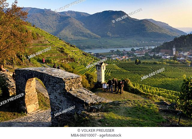 Red gate and wayside shrine with view about vineyards to Spitz and to the Danube, Austria, Lower Austria, Wachau, Spitz at the Danube