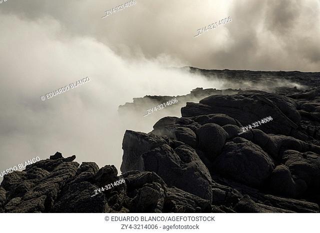 Solified lava from Erta Ale volcano in Danakil Depression desert in Ethiopia. Africa