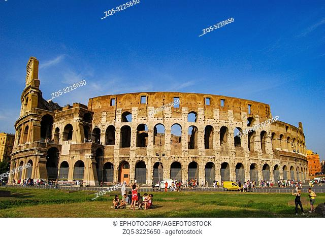 ROME, ITALY, Tourist at Colosseum