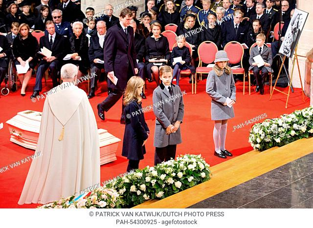 Belgian Prince Gabriel and Crown Princess Elisabeth (both C) with members of the royal family attend the funeral of Belgian Queen Fabiola at the Cathedral of St