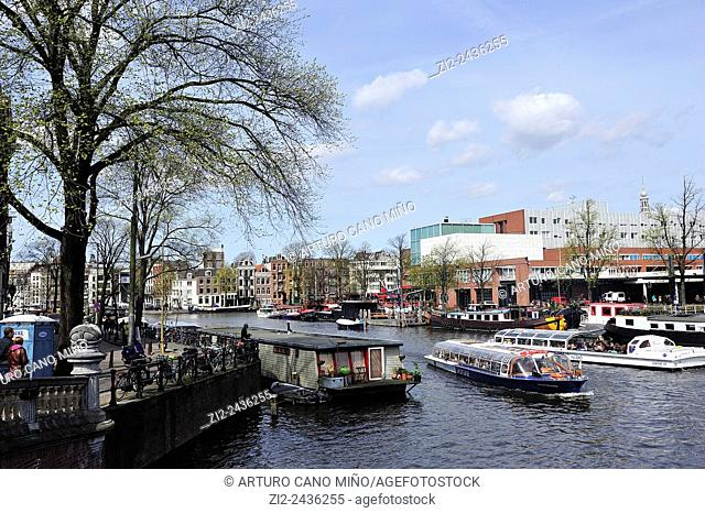 The river Amstel. Amsterdam, Netherlands