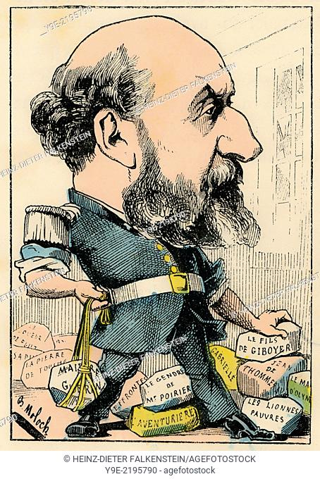 Guillaume Victor Émile Augier, 1820 - 1889, a French dramatist, member of the Académie française, Political caricature, 1882
