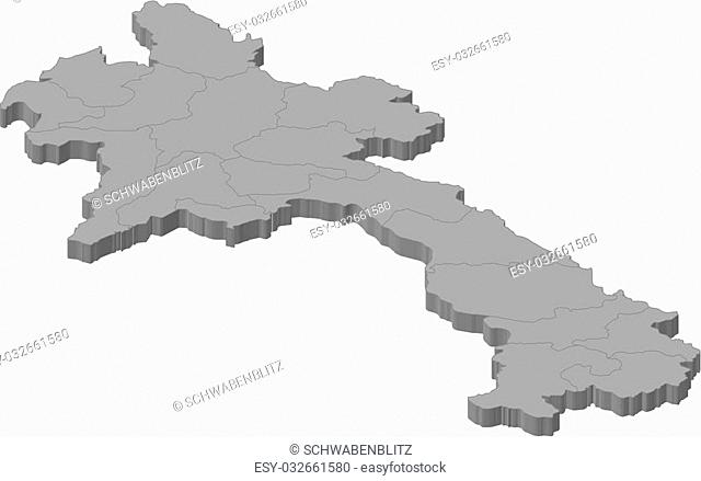 Map of Laos as a gray piece