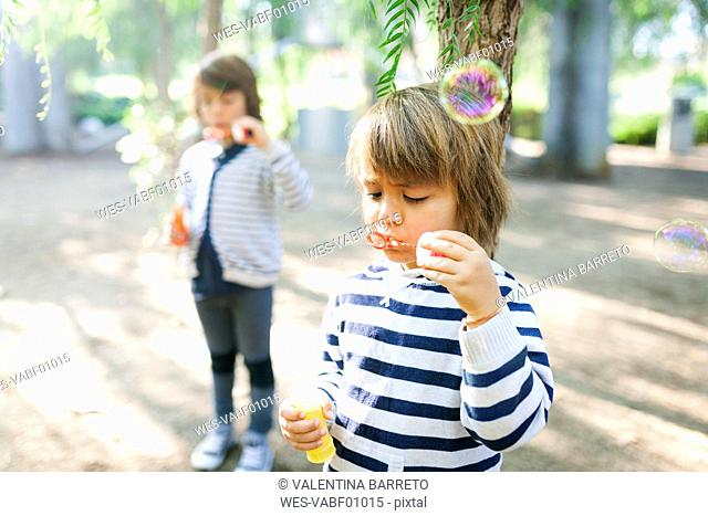 Boys blowing soap bubbles in park