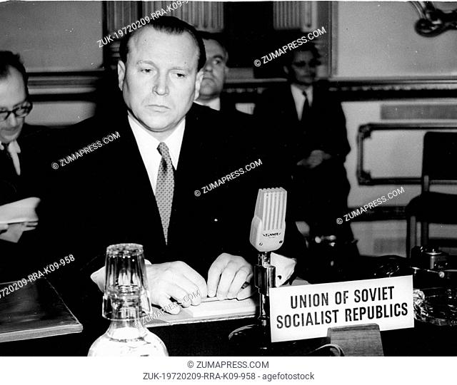 May 13, 1954 - London, England, U.K. - Soviet Ambassador JACOB MALIK attends a meeting at the Lancaster House, trying to reach an agreement on control of the...