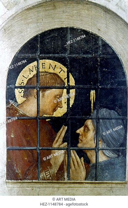 St Laurence converting his jailer, early 15th century. St Laurence converting Hippolytus. St Laurence (d258), saint and martyr