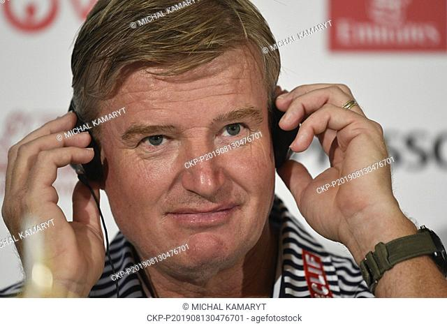 Golf player Ernie Els speaks during the press conference prior to D+D REAL CZECH MASTERS 2019 golf tournament of European Tour in Prague, Czech Republic