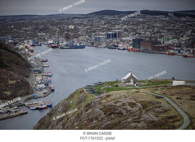 View of bay and harbor, St. Johns, Newfoundland, Canada