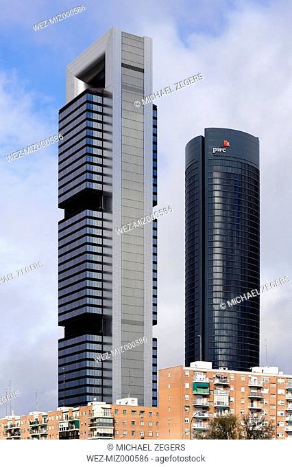 Spain, Madrid, Paseo de la Castellana, skyscrapers in the Cuatro Torres Business Area commercial quarter