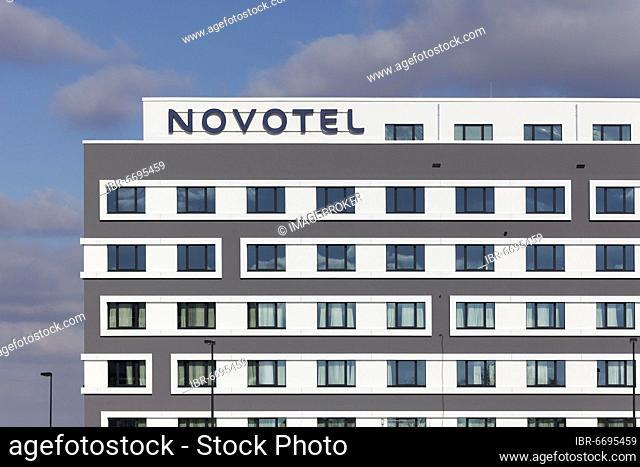 Novotel Düsseldorf Airport, logo on building, mid-range hotel, Düsseldorf, North Rhine-Westphalia, Germany, Europe