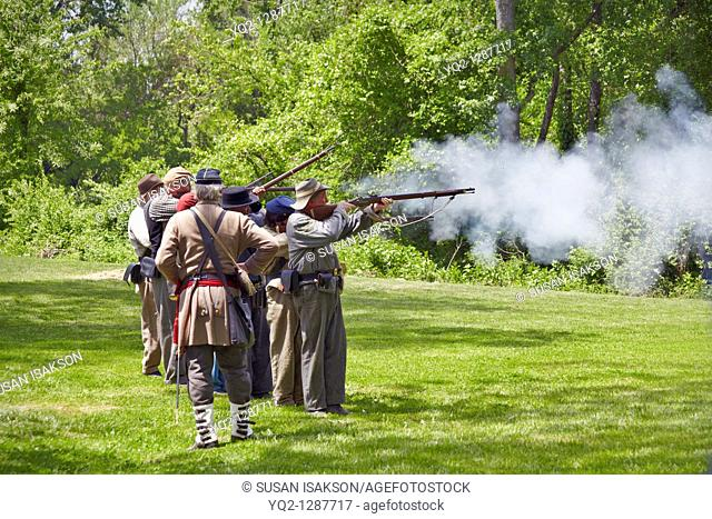 A reenactment of Confederate soldier infantry training