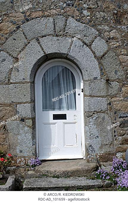 House door of 'La Vieille Maison' Guernsey Channel Islands Great Britain