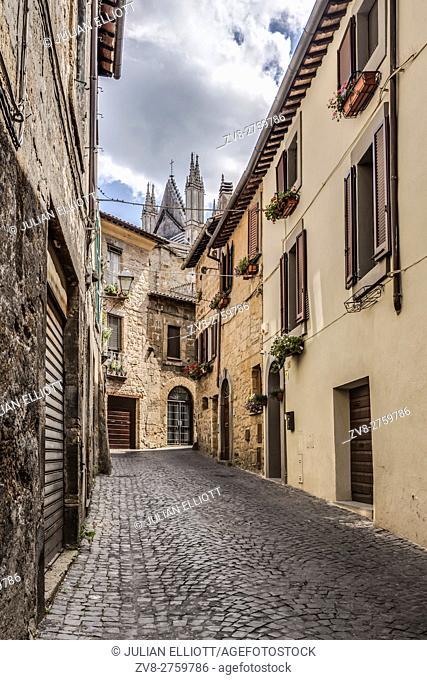 Narrow street in Orvieto, Umbria