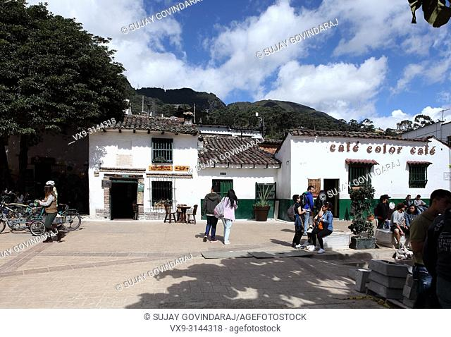 Bogotá, Colombia - May 28, 2017: Chorro de Quevedo, the square in the historic La Candelaria on which the capital city of Bogotá is believed to have been...