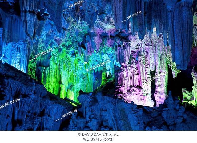 The beautifully illuminated Reed Flute Caves located in Guilin, Guangxi Provine, China