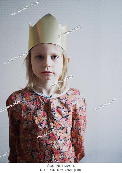 Girl wearing paper crown, Varmdo, Uppland, Sweden