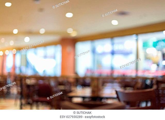image blur background, restaurant interior, coffee cafe shop