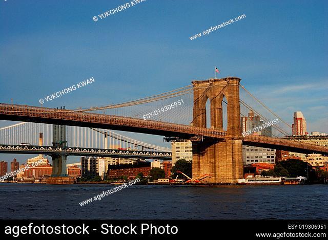 Brooklyn Bridge in New York City under blue sky